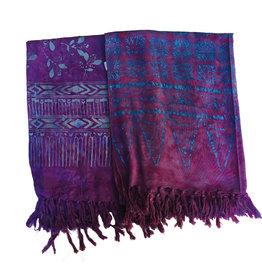 Blue Hand Dark Purple Batik Scarf