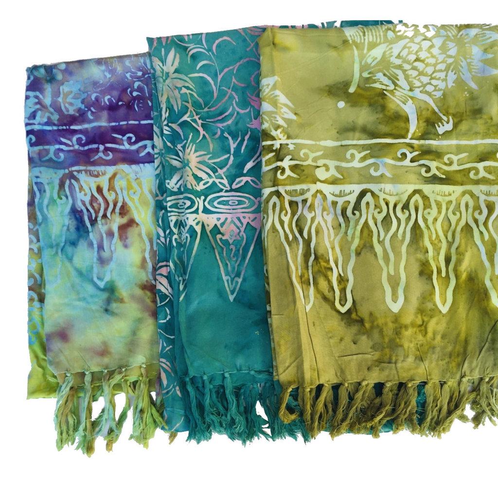 Blue Hand Medium Green Batik Scarf