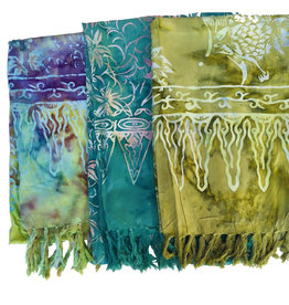 Blue Hand Medium Green Batik Scarf