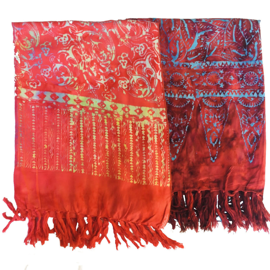 Blue Hand Red Batik Scarf