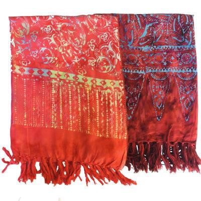 Blue Hand Batik Scarf Red
