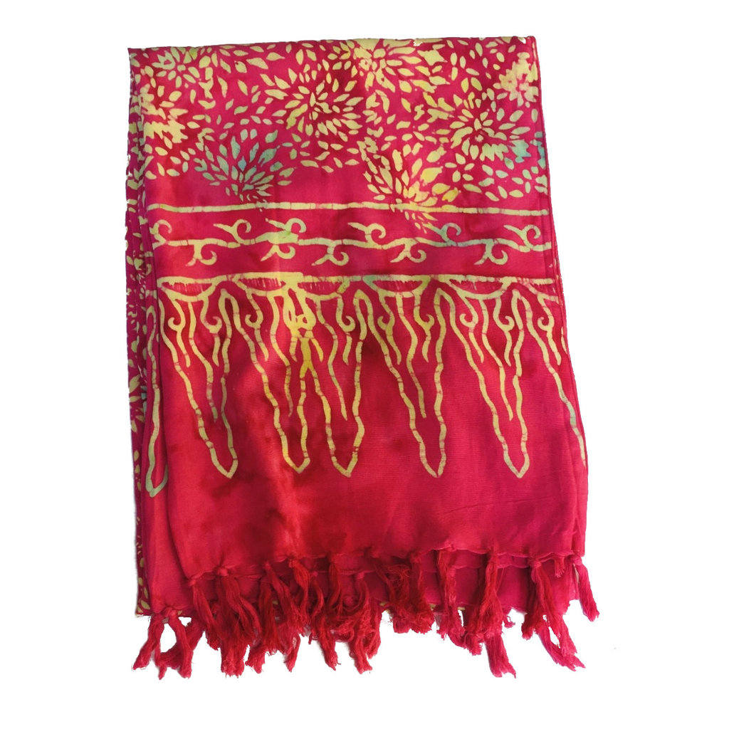 Blue Hand Batik Scarf Pink