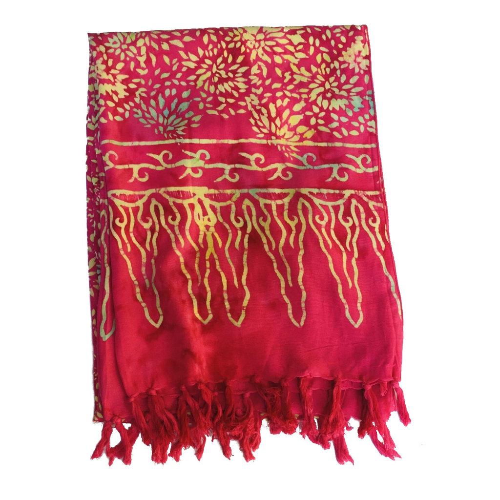Blue Hand Pink Batik Scarf
