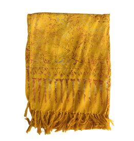Blue Hand Bright Yellow Batik Scarf