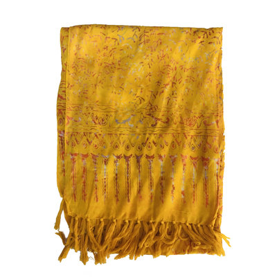 Blue Hand Batik Scarf Bright Yellow