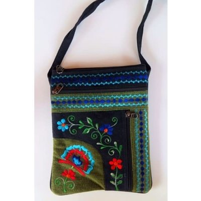 Ganesh Himal Jari Embroidered 2 Zip Passport Bag
