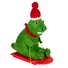 DZI Handmade Felt Sledding T-Rex Ornament