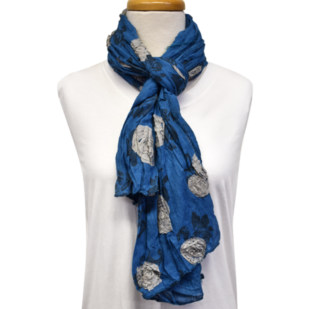 Unique Batik Flower Garden Blue Scarf