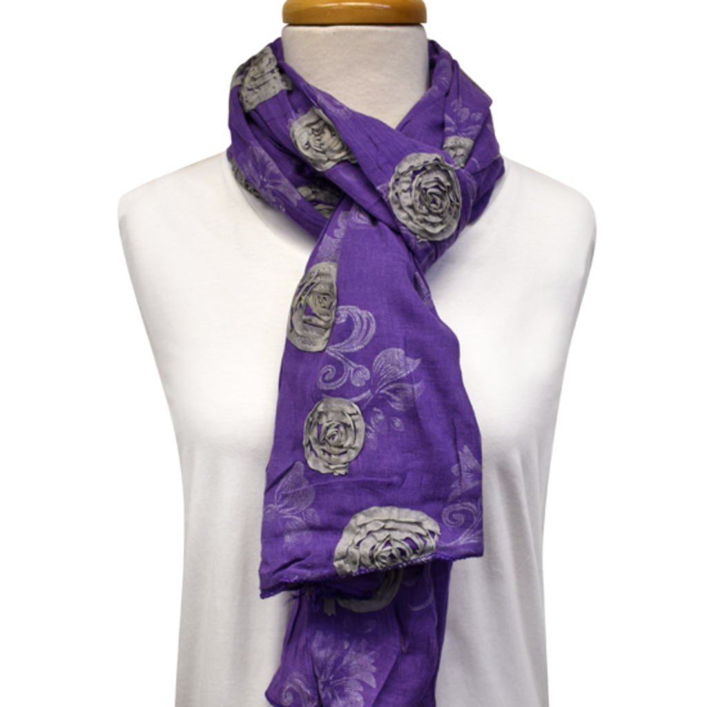 Unique Batik Flower Garden Purple Scarf