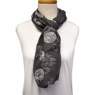 Unique Batik Flower Garden Gray Scarf