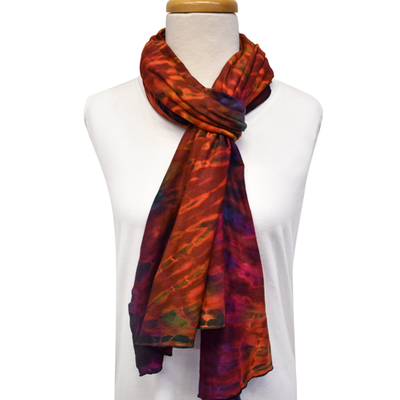 Unique Batik Lolly Red Tie-Dye Scarf