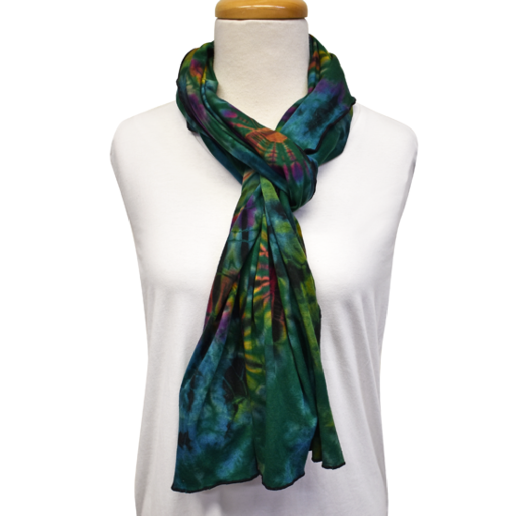 Unique Batik Lolly Green Tie-Dye Scarf