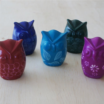 Venture Imports Colorful Blue Kisii Owls