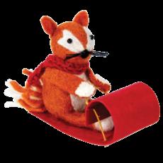 DZI Handmade Sledding Fox Felted Ornament