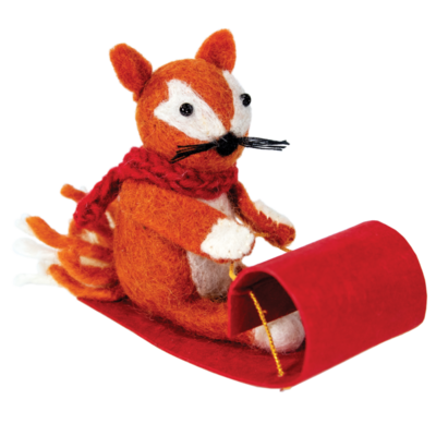 DZI Handmade Sledding Fox Felted Ornament
