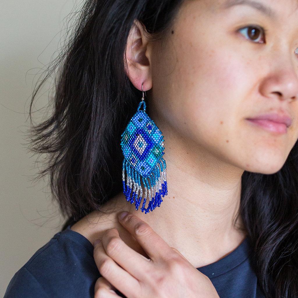 Lucia's Imports Beaded Kite Blue Earrings