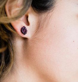 Lucia's Imports Diamond Post Purple Earrings