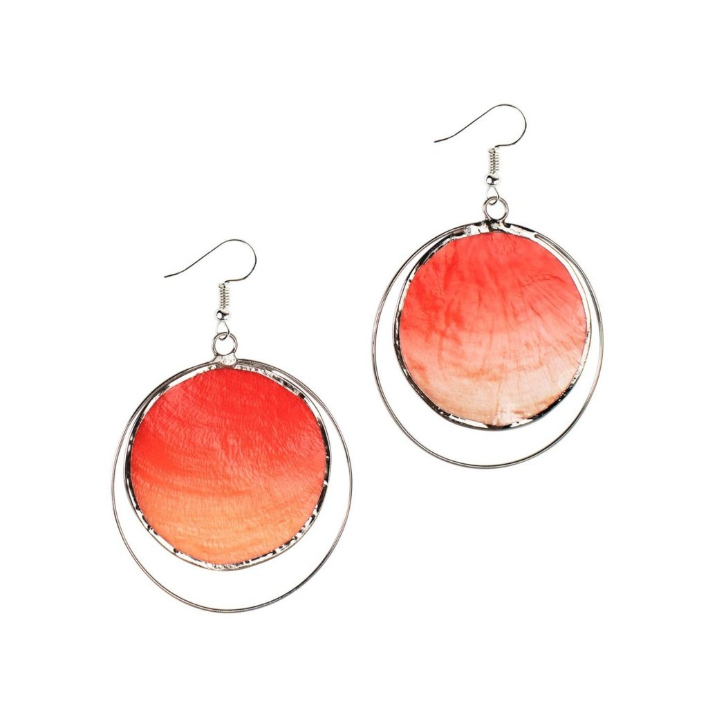 Ten Thousand Villages Fire Capiz Earrings