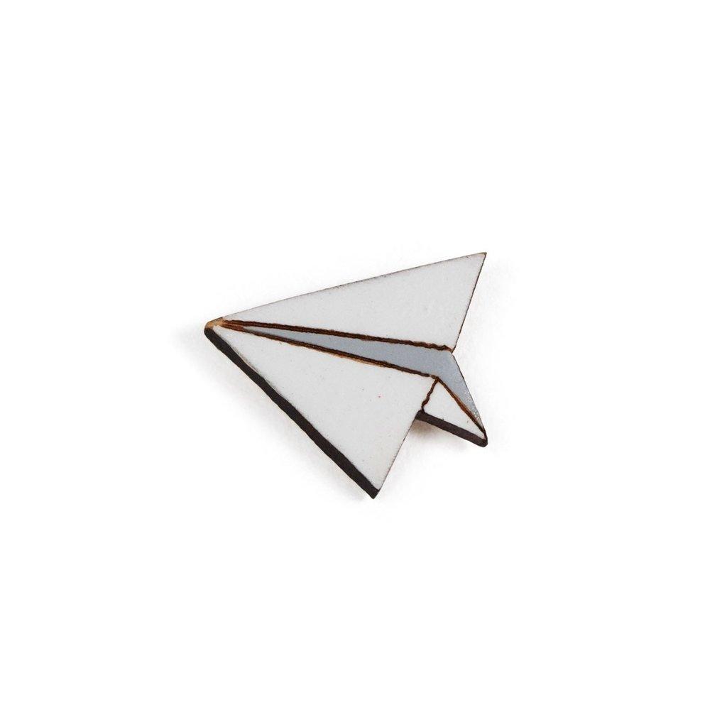 Ten Thousand Villages Paper Airplane Gourd Pin