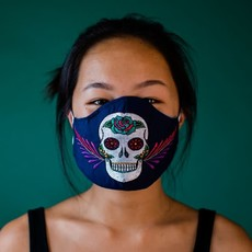 Lucia's Imports Embroidered Sugar Skull Face Mask