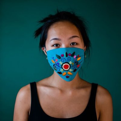 Lucia's Imports Embroidered Cotton Face Mask