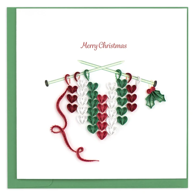 Quilling Card Knit Hearts Christmas Quilled Card