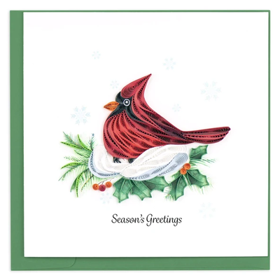 Quilling Card Snowy Cardinal Holiday Quilled Card