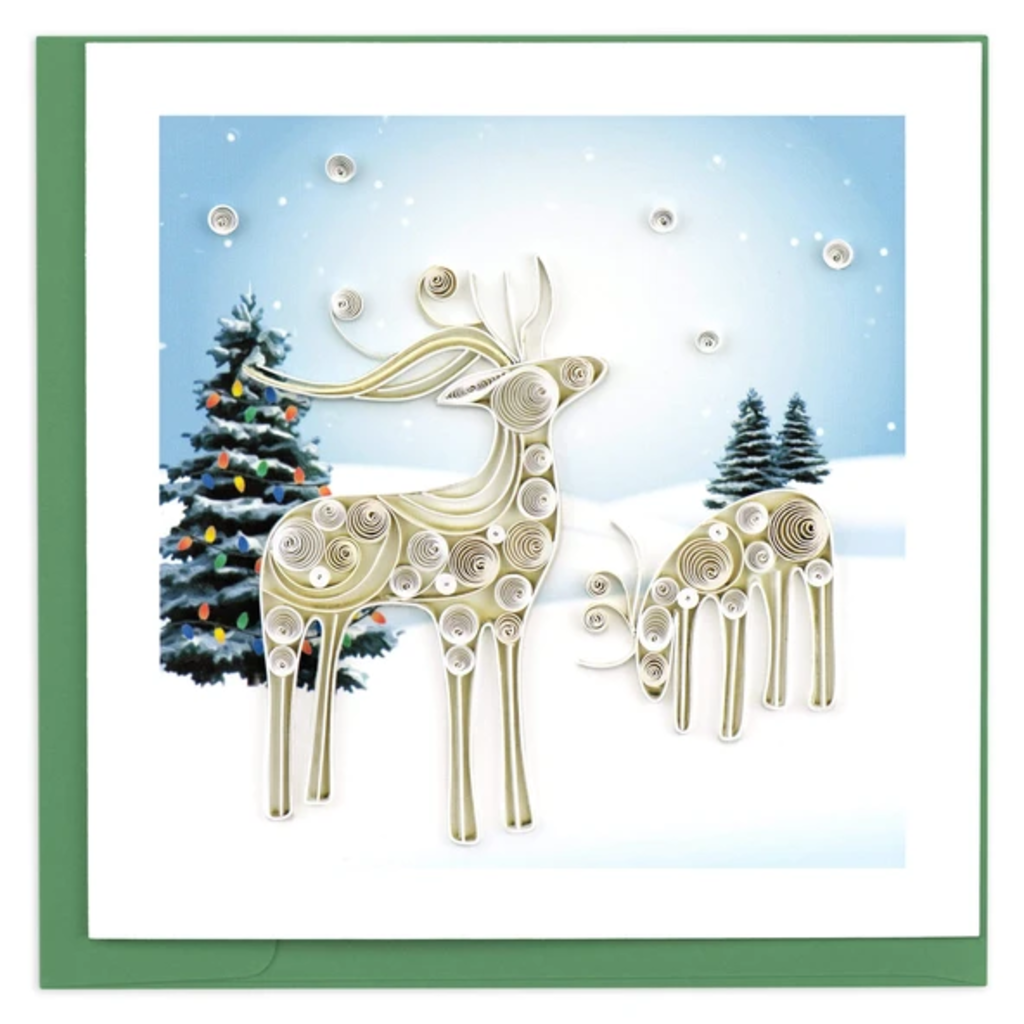 Quilling Card Snowy Reindeer Holiday Quilling Card