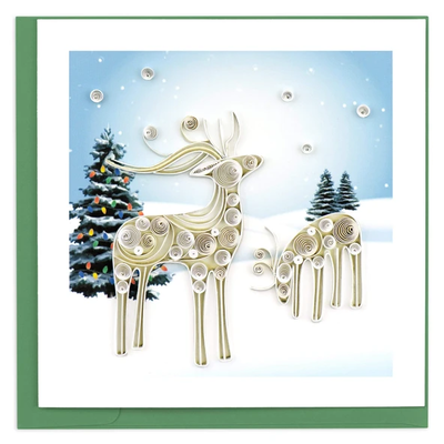 Quilling Card Snowy Reindeer Holiday Quilled Card