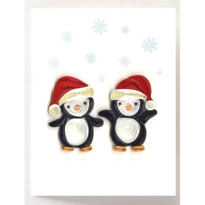 Quilling Card Holiday Penquins Quilled Gift Enclosure Card