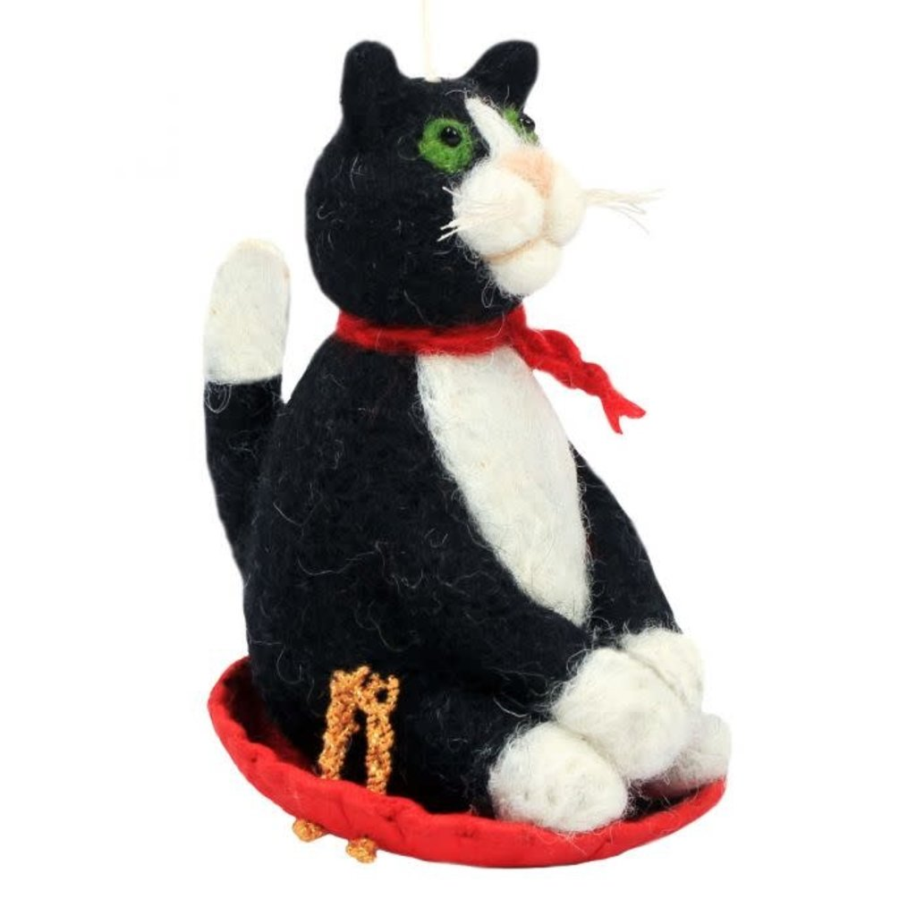 DZI Handmade Sledding Kitty Felt Ornament