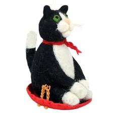 DZI Handmade Sledding Kitty Felt Ornament