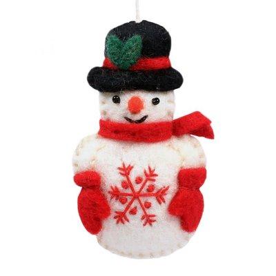 DZI Handmade Snowflake Snowperson Felt Ornament