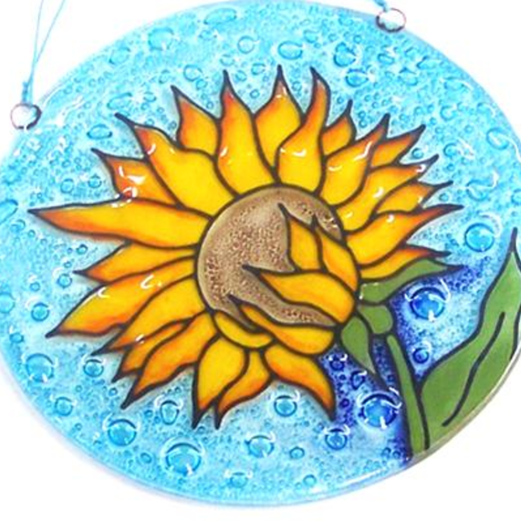 PamPeana Sunflower Fused Glass Ornament