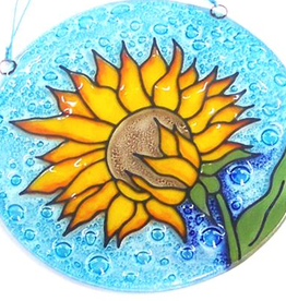 PamPeana Sunflower Fused Glass Ornament