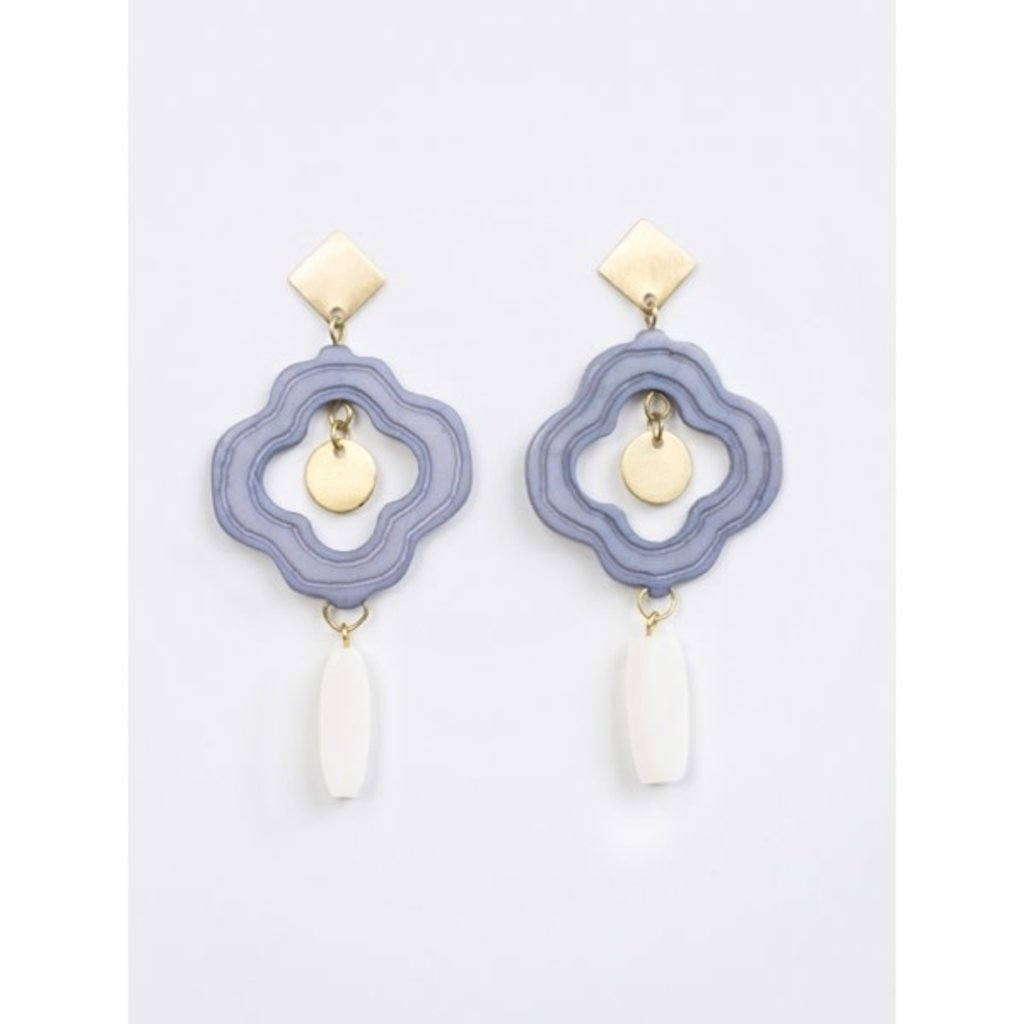 Mata Traders Agra Blue Earrings