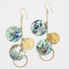 Mata Traders Abalone Shell Disc Earrings