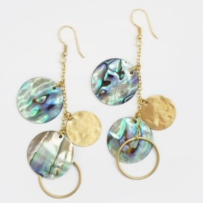 Mata Traders Abalone Shell Disc Earrings