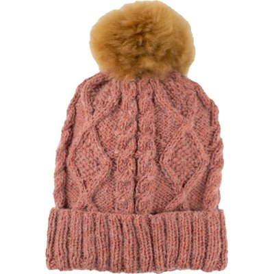 Andes Gifts Braided Knit Pom Hat: Rose