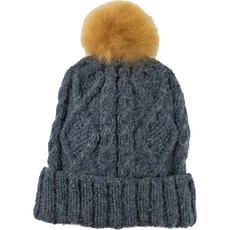 Andes Gifts Braided Knit Pom Hat: Steel