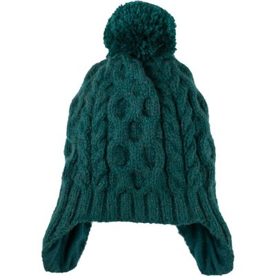 Andes Gifts Cable Knit Hat with Pom: Aqua