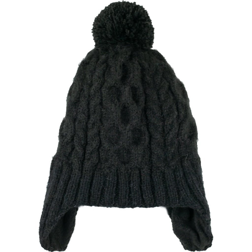 Andes Gifts Cable Knit Hat with Pom: Black