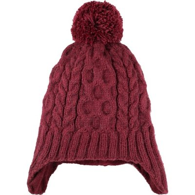 Andes Gifts Cable Knit Hat with Pom: Burgundy