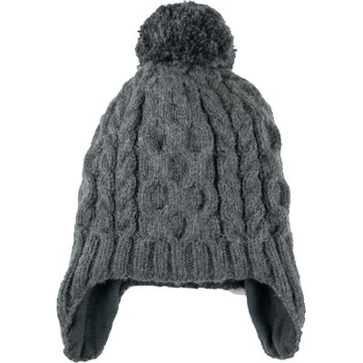 Andes Gifts Cable Knit Hat with Pom: Grey
