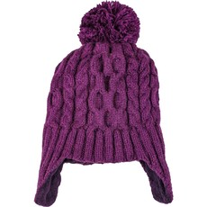 Andes Gifts Cable Knit Hat with Pom: Purple