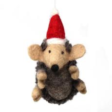 Global Crafts Santa Hat Hedgehog Felt Ornament