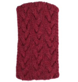 Andes Gifts Cable Knit Ear Warmer: Burgundy