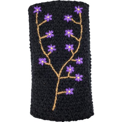 Andes Gifts Embroidered Knit Ear Warmer: Black