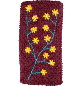 Andes Gifts Embroidered Knit Ear Warmer: Burgundy