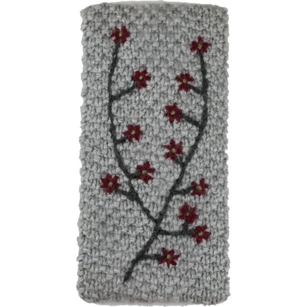 Andes Gifts Embroidered Knit Ear Warmer: Grey